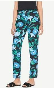 Bold Print Ann Taylor Blue Morning Glory Pants